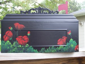 Hand Painted Poppy Mailbox
