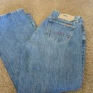 LUCKY BRAND JEAN CROSS TOWN DUNGAREES NEW 28 X  29 ¾  Low Flare Vintage Inspired