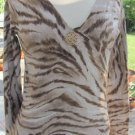 GUESS JEANS SWEATER TOP V-NECK Animal Print Silk Blend Medium Excellent