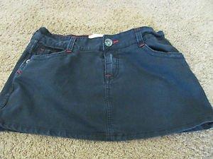 MARLOW BLACK MINI SKIRT Size 30 Slight Distress Red Top Stitch Details EUC