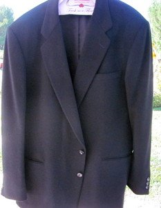 JOSEPH & FEISS INTERNATIONAL Cashmere Wool Sport Coat Jacket Black XL EXCELLENT