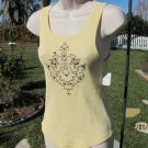 COTTON BABY Yellow Embellished Tank Top Size S/M  Boutique Closeout