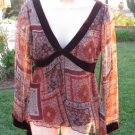 ANNA PAUL Size S V-Neck Lined Long Sleeve With Silk Velvet Trim BEAUTIFUL