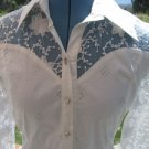 SORMANI Small  White Blouse With Sheer Embroidered Inserts Career NEW EMBELLISH