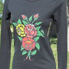 ED HARDY CHRISTIAN AUDIGLER XS Black NEW Long Sleeve Graphic TEE