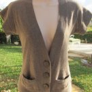 APHORISM CARDIGAN TOP M Browns Soft Knit Short Sleeve Large Buttons NEW Sweet