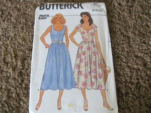 BUTTERICK 3227 PATTERN FAST & EASY 8-10-12 UNCUT Sun Dress  1985