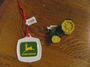 JOHN DEERE CHRISTMAS ORNAMENTS 2 ORNAMENTS