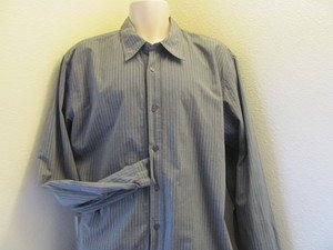 GUESS VINTAGE XXL  GRAY STRIPE Long Sleeve Button Front Causal Shirt