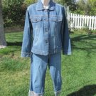 CHICO'S DENIM JACKET AND CROP PANTS Size 0 & 0.5 Light Weight Denim w/Contrast