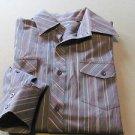 7 DIAMONDS Size LARGE Black Multi Colored Pin Striped Shirt BEAUTIFUL!