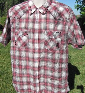 ED HARDY LARGE Plaid Chain Link Detailed Snap Front STURGIS Tie Dyed Shirt