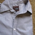 ROAR Shirts For Men L BUTTON FRONT  Long Sleeve Gray White Stripe EUC