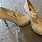 "421-JANE WHITE SHOES 4"" Heel Double Strap Mary Jane Large 9-10 Costume Diva"