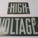 VINTAGE LINEMAN HIGH VOLTAGE Green Power ADVERTISING Sign 2 pc.Porcelain Man Cav