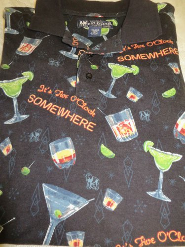 BIG DOGS POLO Large Black It's 5 O'Clock Somewhere  Golf Rugby Shirt
