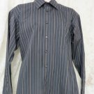 PRONTO UOMO Shirt Large Gray Stripe NO IRON NEW