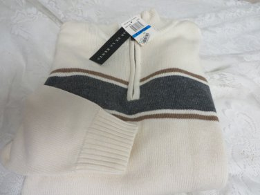 OSCAR DE LA RENTA Mens NWT Large ME4170RC Rice Stripe Golf Career Sweater