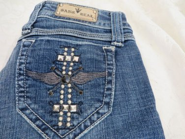 "SANG REAL By Miss Me Wing Cross Studded Boot Cut 27 x 33 ½"" Low"