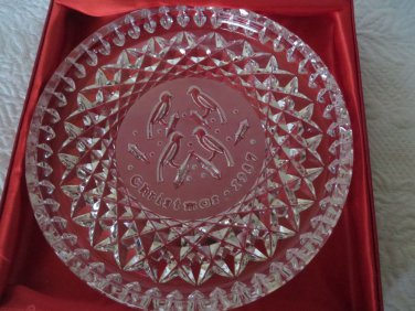 WATERFORD CRYSTAL 1987 FOUR CALLING BIRDS Dish Plate MINT