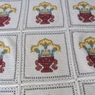 CROCHET AFGHAN BLANKET THROW Cross Stitched Ivory Cabin Decor Patchwork Handmade