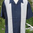 DRAGONFLY SHIRT NAVY BLUE Gray Vertical Insert Classic Button Front LARGE  NEW