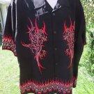 DRAGONFLY SHIRT  XL Black RED DOUBLE DRAGON Border Print Club Riding NEW