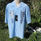 DRAGONFLY SHIRT XL STEEL FT-510 Baby Blue Embroidered Front