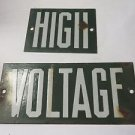 VINTAGE Porcelain HIGH VOLTAGE Green Power ADVERTISING Sign 2 pc.  Man Cave
