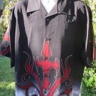DRAGONFLY SHIRT XL  Black Red Gray Tribal Flame NEW Club Bowl Bike Work Casual