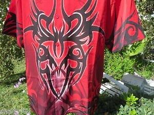DRAGONFLY SHIRT Large Red Black Print SANDMAN STUNNING NEW Club Billiards Motor