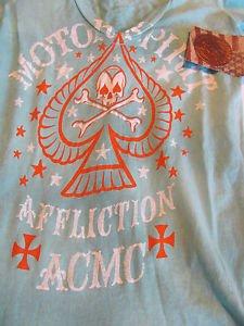 AFFLICTION TEE WOMENS XS American Customs Blue NWT Motor Club Shirt