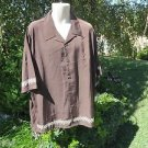 DRAGONFLY SHIRT 2XL XXL Brown Embroidered THORNS Button Front NWT