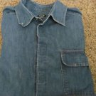 DOLCE & GABBANA D & G Denim Shirt Jacket XL Blue Light Weight Velcro Closure
