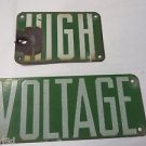 PORCELAIN SIGN  High Voltage Green  Power Line 2 pc Vintage W/Nails bullet Hole