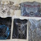 AFFLICTION TEE  LOTs 5 Live Fast Ricky Hatton Flawed/Repaired/Beaters MED Shirts