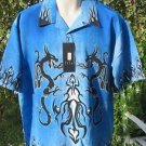 DRAGONFLY SHIRT BLUE Dragon DRAKE NWT Large Flame Tip Collar PG343