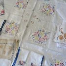Vintage Printed Embroidered Damask Linen CottonTablecloths Use or Cutter 16 lot