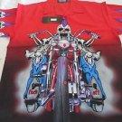 DRAGONFLY SHIRT DF MAD MAX Pg-370 Red NWT Skull Motorcycle Foff  2002 RARE shirt