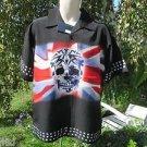 DRAGONFLY SHIRT REBEL PG186 NWT Medium Patriotic Skull Button Front Riding Club