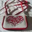 New BRIGHTON Wallet Handbag CHAIN PURSE Wristlet Clutch HEART Media Case RED BLK