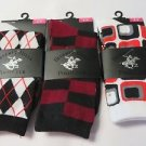 BEVERLY HILLS POLO CLUB SOCKS Women's Various argyle Check socks size 4-9 3 pair