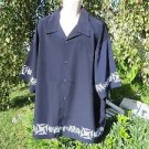 NEW DRAGONFLY SHIRT 4XL XXXXL  Navy Blue  W/ EMBROIDERED DETAILS  Iron Cross