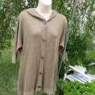 ALICE + OLIVIA Sweater Hoodie Tunic LINEN Olive Green Button Front s/p ¾ Sleeve