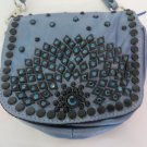 KIPPYS PURSE BELT POUCH Crystals BLUE Metallic Cross Body BLING Dance Cowgirl