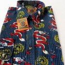 DAGACCI Mens Dress Shirt Perma Press Polyester BLUE RED DRAGON Peach Skin  M-2XL