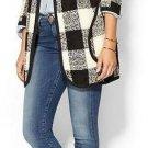 J BY JOA LOS ANGELES Black White Buffalo Check Sweater Coat NWT Jacket Unlined