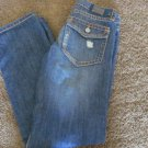 Iron Horse BAZINE II JEANS 0 NWOT PATCH LOW SLIM CUFFED Straight WESTERN Cowgirl