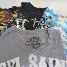 AFFLICTION TEE  LOT 4 SHIRTS MEDIUM Raw State Rebel Saints Archaic
