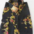 DAGACCI Mens Dress Shirt Perma Press Polyester BLACK DRAGON Peach Skin NEW M-2XL